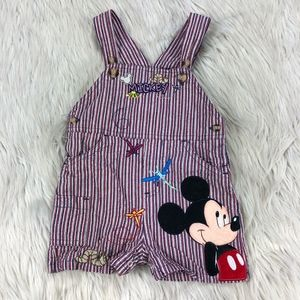 VTG Disney Striped Embroidered Bug Mickey Overalls